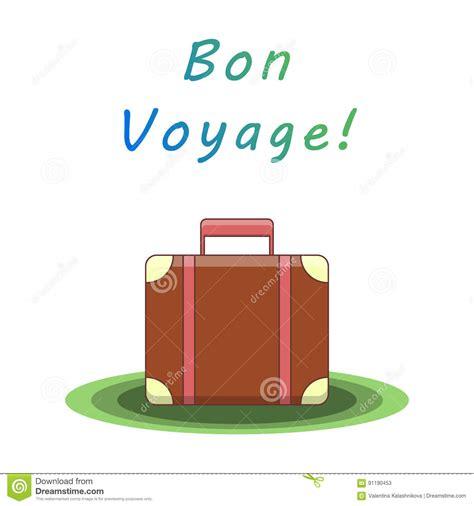 bon voyage card template bon voyage suitcase vector illustration stock vector