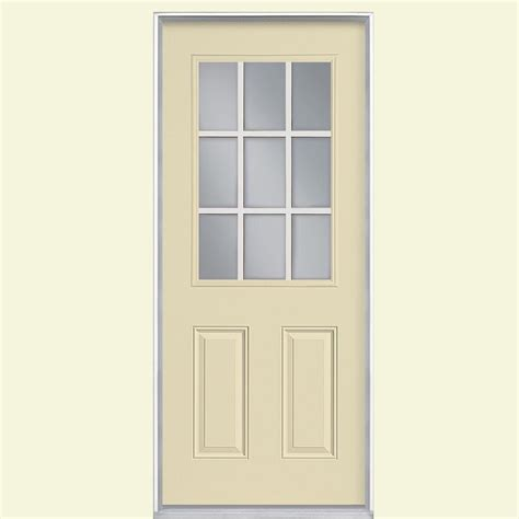 Prehung Fiberglass Exterior Doors Masonite 32 In X 80 In 9 Lite Painted Smooth Fiberglass Prehung Front Door With No Brickmold