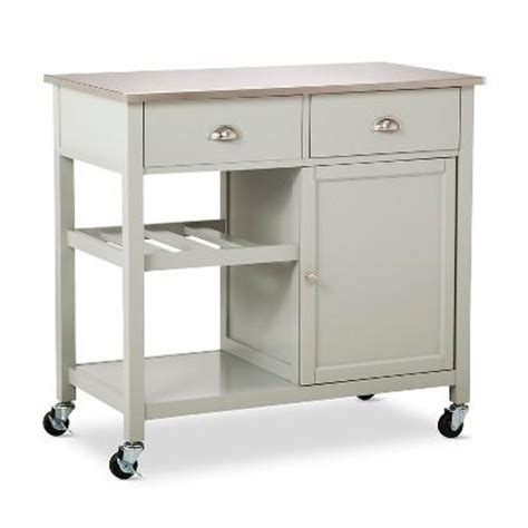 stainless steel kitchen island on wheels threshold stainless steel top kitchen island in gray