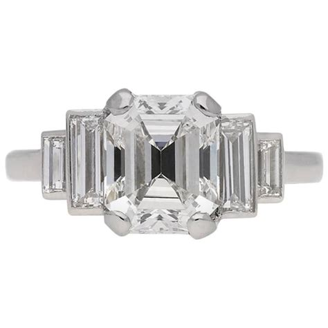 1930s Home Interiors by Art Deco Emerald Cut Diamond Engagement Ring English