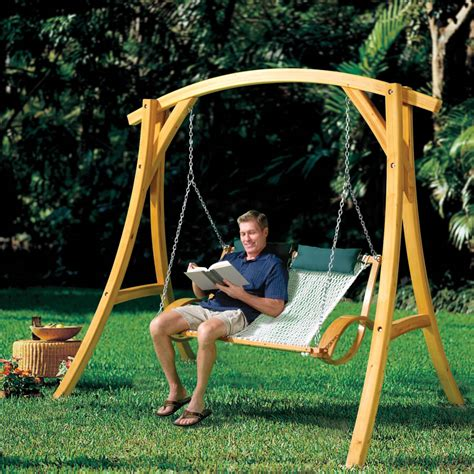 outdoor swing canada the arched cypress swing stand hammacher schlemmer