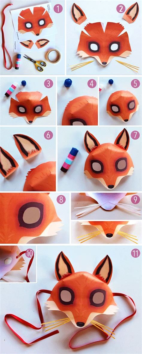 How To Make Animal Masks With Paper - 25 best ideas about fox mask on fox costume