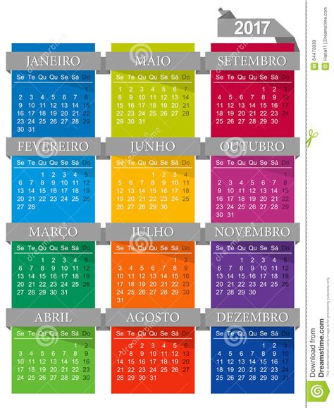 Calendã 2017 Feriados Portugal Calend 225 2017 Ilustra 231 227 O Do Vetor Imagem 64470030