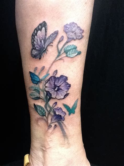 butterfly and virgo tattoo on flower butterfly tattoos flower butterfly ankle