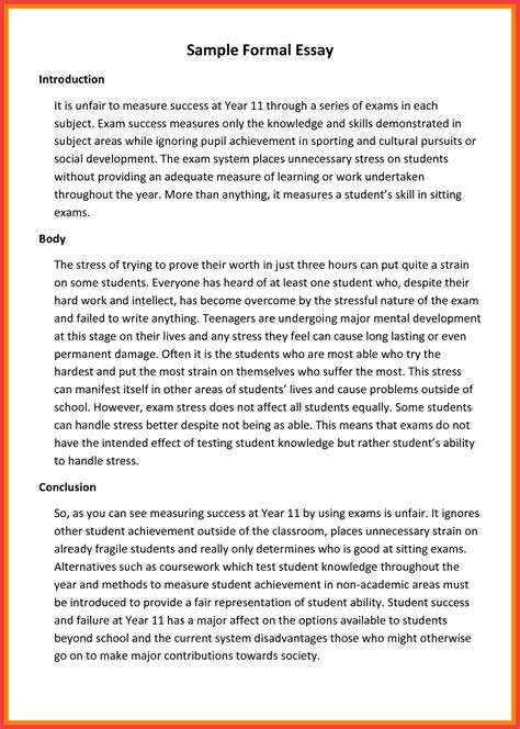 Formal Writing Essay by Formal Exles Memo Exle