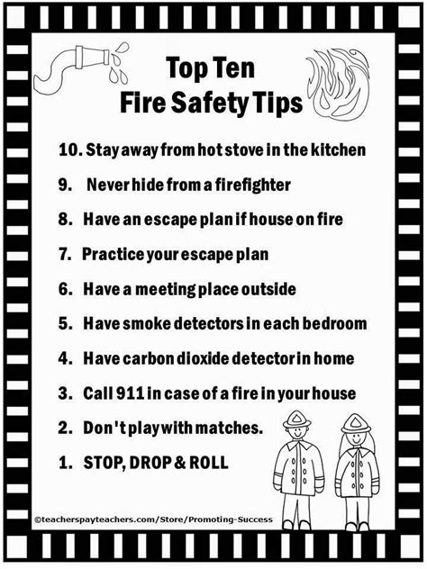 top 10 home for safety tips fire safety worksheets for