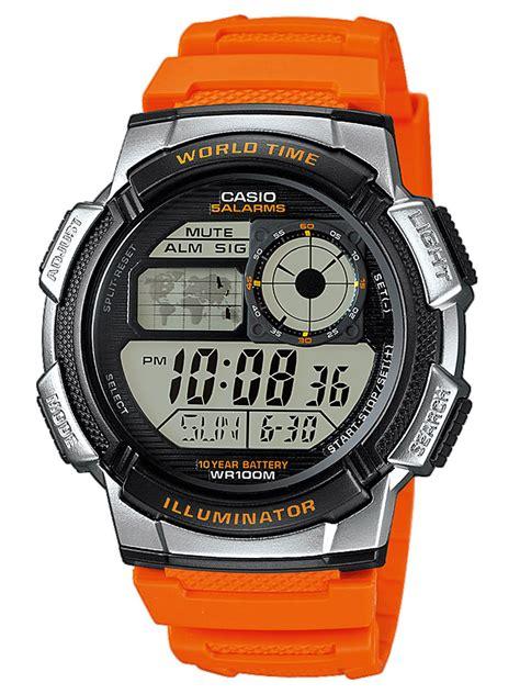 Casio Pria Ae 1000w 4bvdf Orange by Casio Collection Digital Mens Ae 1000w 4bvef
