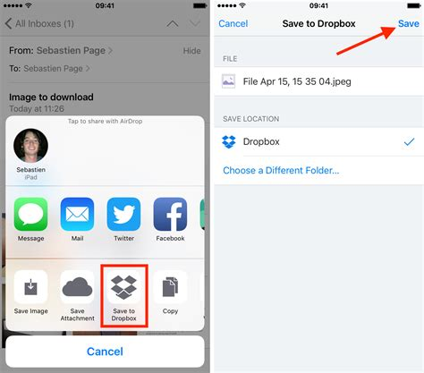 how to save email attachments to iphone and