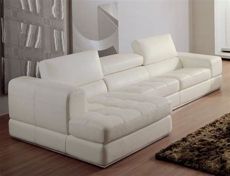 White Bonded Leather Sectional Sofa With Chaise Modern White Sectional Sofa With Chaise