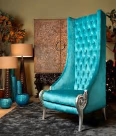 eclectic high back chairs majestic turquoise armchair by