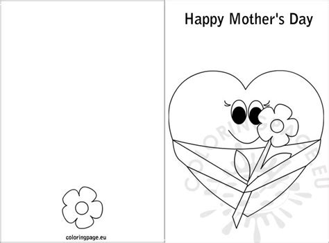 mothers day card templates to color free s day card coloring
