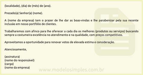 web mail interno it modelo de carta de boas vindas ao cliente
