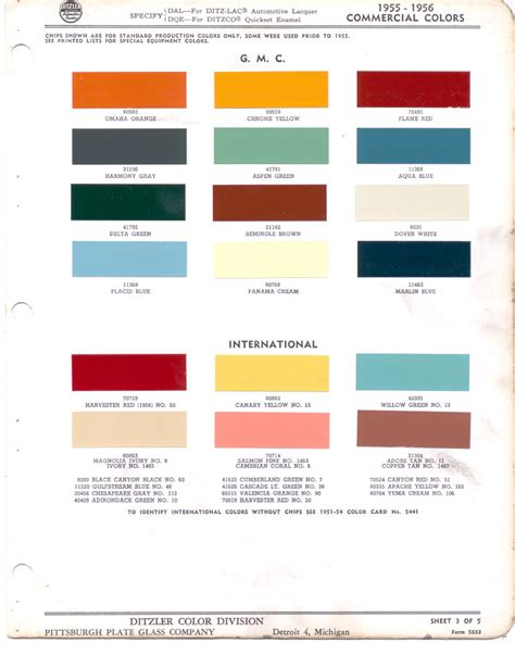 paint chips 1955 gmc