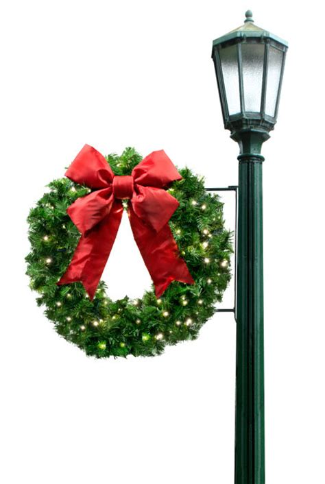 wreath light pole christmas decorations