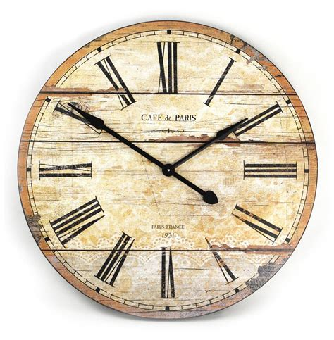 wooden wall clock cafe de paris rustic french cottage style old wood wall