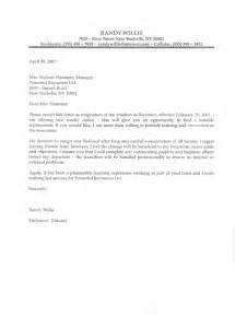 Format For Writing A Resignation Letter by L R Resignation Letter Sle Letter Resume