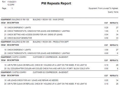 maintenance monthly report sle cogz ez cmms software equipment enhancement module details