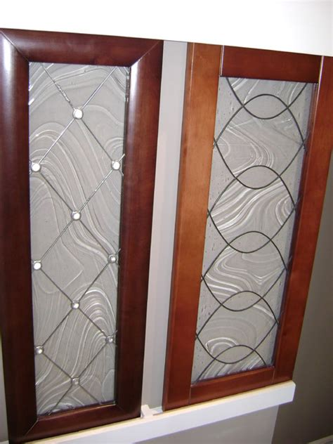 Glass Inserts For Kitchen Cabinets by Kitchen Cabinet Stained Glass Applications Eclectic