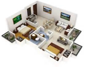 Home Design 3d Gold Para Pc Gratis by Plano 3d De Casa Con Dos Dormitorios Construye Hogar