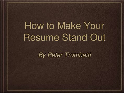 how to make sure your resume stands out