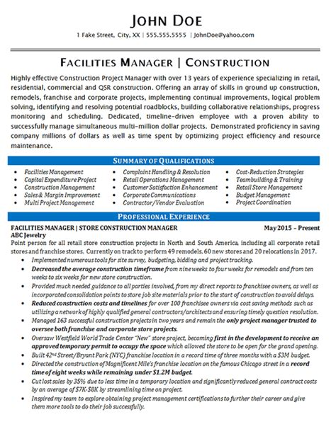 Facility Manager Sle Resume by Facilities Manager Resume Exle Construction Projects