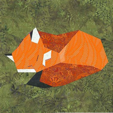 Fox Quilt Pattern by Fox Paper Pieced Quilt Block Pattern Pdf