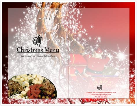 christmas menu template word templates
