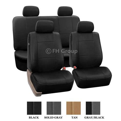 black leather bench seat for truck pu leather seat covers w 4 headrests solid bench black