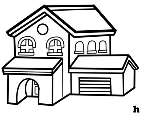 house clipart coloring black white