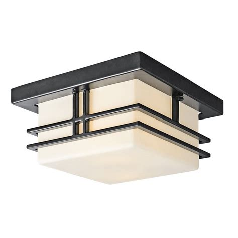 Front Entrance Light Fixtures Kichler 49206bk Tremillo 2 Light Outdoor Flush Mount Ceiling Light Ebay