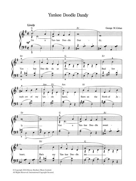 printable lyrics to yankee doodle dandy yankee doodle dandy sheet music by george m cohan piano