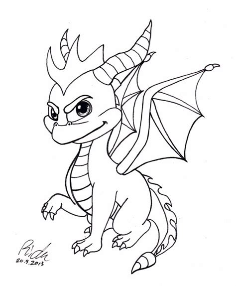 coloring pages of spyro the dragon spyro the dragon bw by ricku on deviantart
