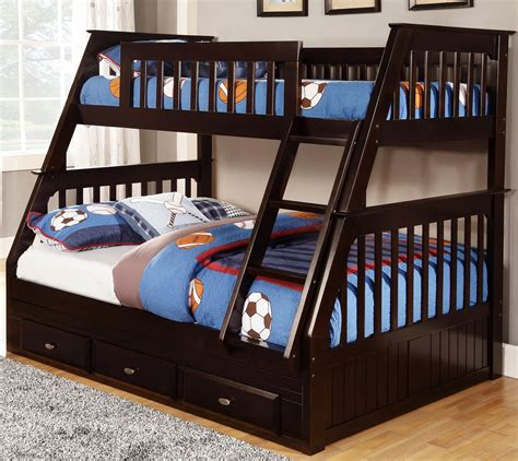 full twin bed discovery world furniture twin over full espresso mission