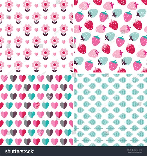 cute pattern set set cute seamless background patterns pink stock vector