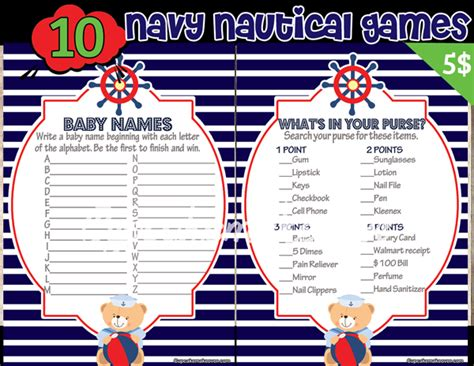 nautical names nautical navy baby shower package instant