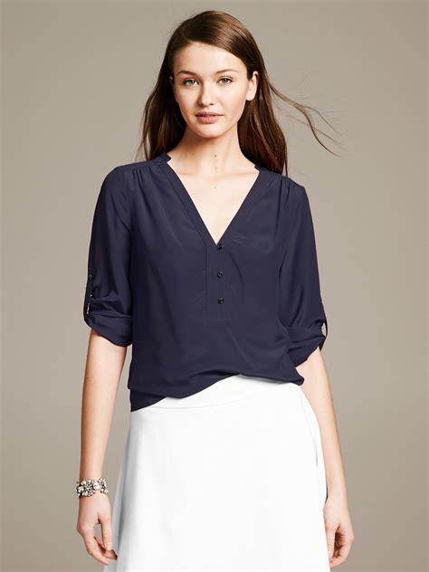 Gap Navy Silky Shirt T3010 banana republic silk roll sleeve riviera blouse in blue classic navy lyst