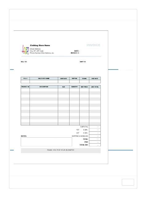 download clothing store receipt template for free tidyform