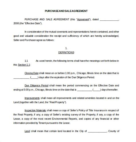 purchase and sale agreement template free 11 purchase agreement templates free sle exle