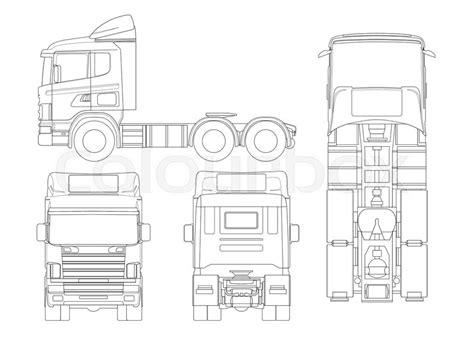 truck tractor  semi trailer truck  outline combination   tractor unit