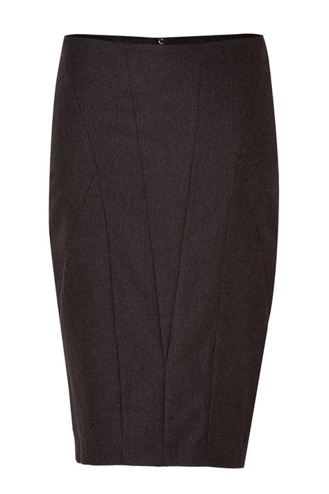 brown stretch wool pencil skirt in chocolate