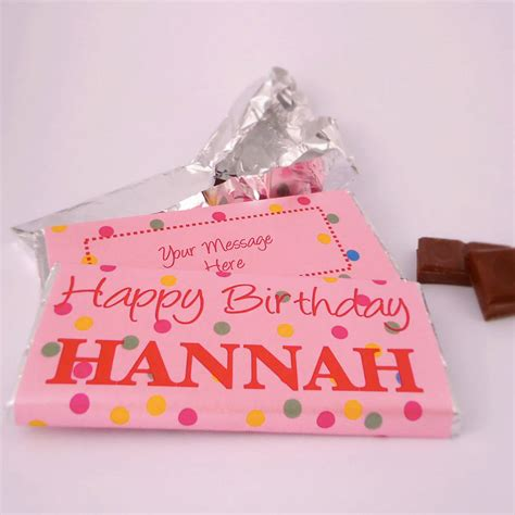 happy birthday personalised chocolate bar by tailored