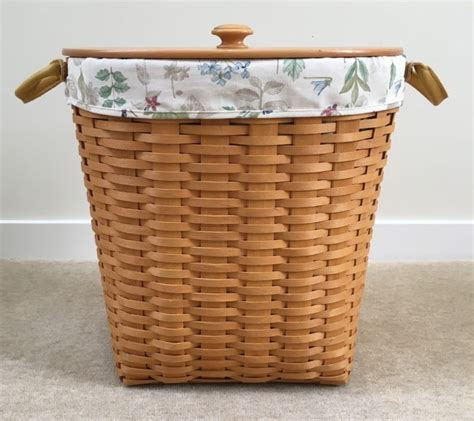 longaberger 1986 small waste basket her w lid darker longaberger waste basket shop collectibles online daily