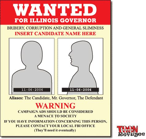 illinois governor generic campaign wanted poster