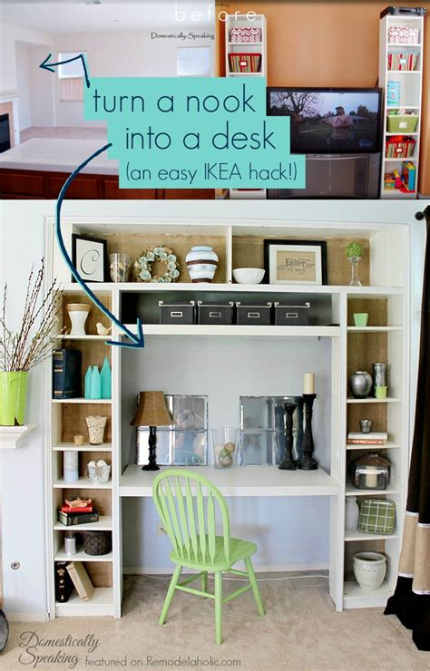 Turn Bookshelf Into Desk by Bookcase To Built In Desk Nook Hack Remodelaholic