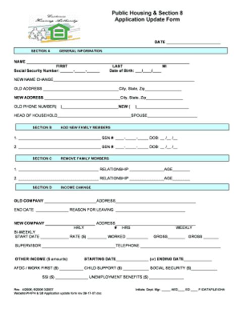 section 8 update form application form sections fill online printable