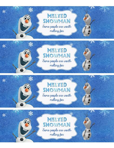 printable olaf water bottle labels disney olaf invitations party invitations ideas