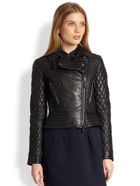 Black Leather Quilted Jacket by Burberry Brit Quilted Leather Biker Jacket In Black Lyst