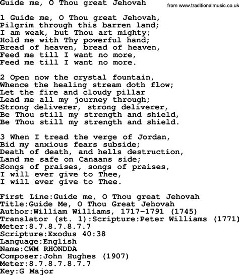 guide me o thou great redeemer wedding hymn presbyterian hymn guide me o thou great jehovah lyrics