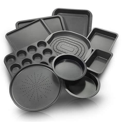 Cake Tray Set by Chefland 10 Non Stick Bakeware Set Oven Crisper