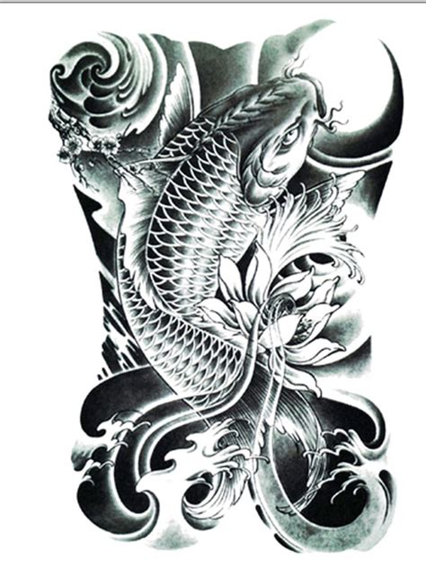 tattoo ikan koi black grey koi tattoo temporary tattoo flash tattoo fake tattoo